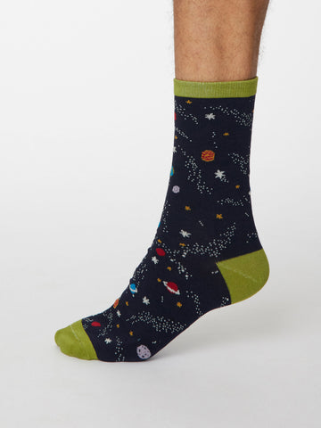 Galassia Bamboo Space Socks in Dark Navy by Thought, Size 7-11-bamboofeet
