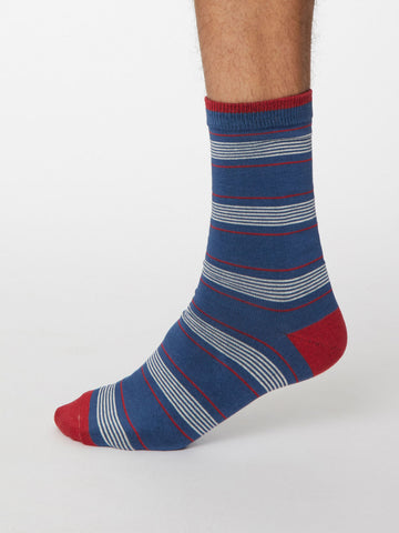 Eduardo Bamboo Striped Socks in Denim Blue by Thought, Size 7-11-bamboofeet