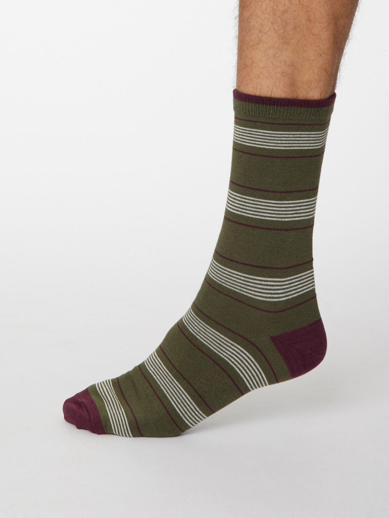 Eduardo Bamboo Striped Socks in Khaki Green by Thought, Size 7-11-bamboofeet