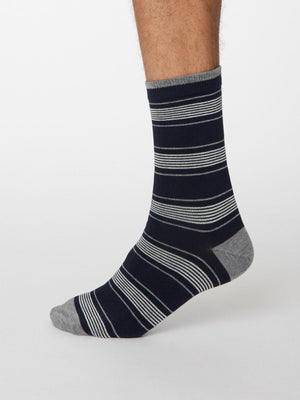 Eduardo Bamboo Striped Socks in Dark Navy by Thought, Size 7-11-bamboofeet