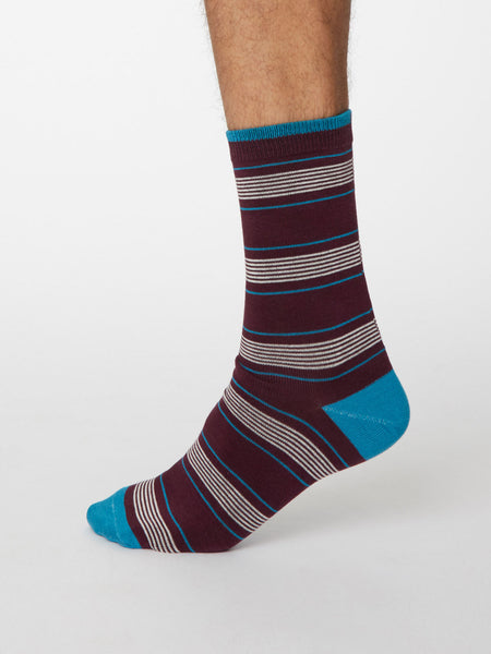 Eduardo Bamboo Striped Socks in Wine Red by Thought, Size 7-11-bamboofeet