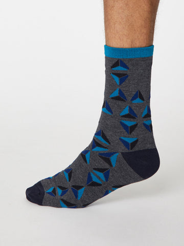 Geometrico Bamboo Geometric Socks in Dark Grey Marle by Thought, Size 7-11-bamboofeet