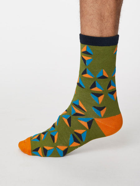 Geometrico Bamboo Geometric Socks in Olive Green by Thought, Size 7-11-bamboofeet
