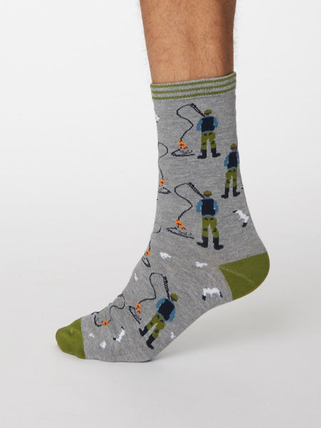 Pesca Bamboo Fisherman Socks in Mid Grey Marle by Thought, Size 7-11-bamboofeet