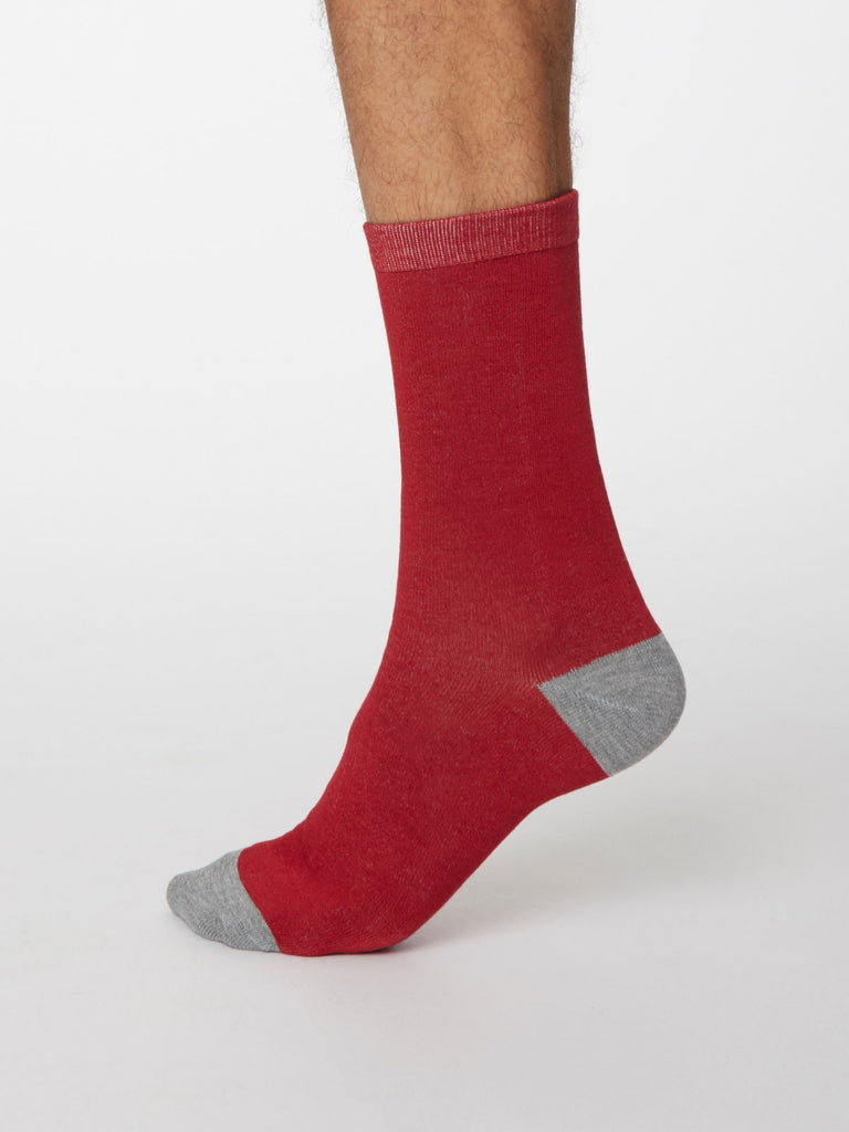 Solid Jack Plain Bamboo Socks in Berry Red by Thought, Size 7-11-bamboofeet