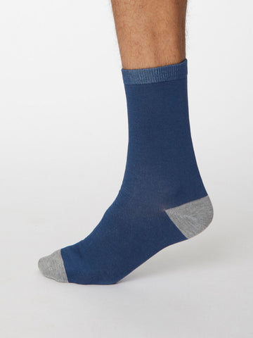 Solid Jack Plain Bamboo Socks in Denim Blue by Thought, Size 7-11-bamboofeet