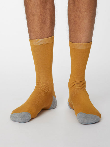 Solid Jack Plain Bamboo Socks in Mustard Yellow by Thought, Size 7-11-bamboofeet