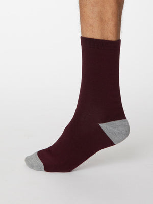 Solid Jack Plain Bamboo Socks in Wine Red by Thought, Size 7-11-bamboofeet