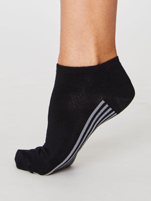 Solid Jane Plain Bamboo Trainer Sock in Black by Thought, Size 4-7-bamboofeet