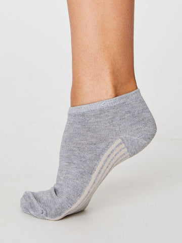 Solid Jane Plain Bamboo Trainer Sock in Mid Grey Marle by Thought, Size 4-7-bamboofeet