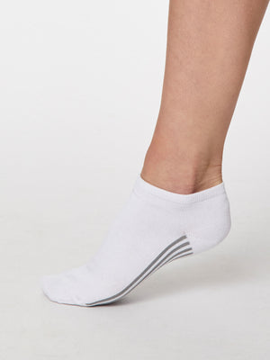 Solid Jane Plain Bamboo Trainer Sock in White by Thought, Size 4-7-bamboofeet