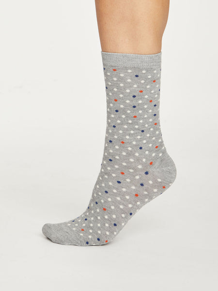 Spotty Bamboo Socks in Mid Grey Marle by Thought Size 4-7-bamboofeet
