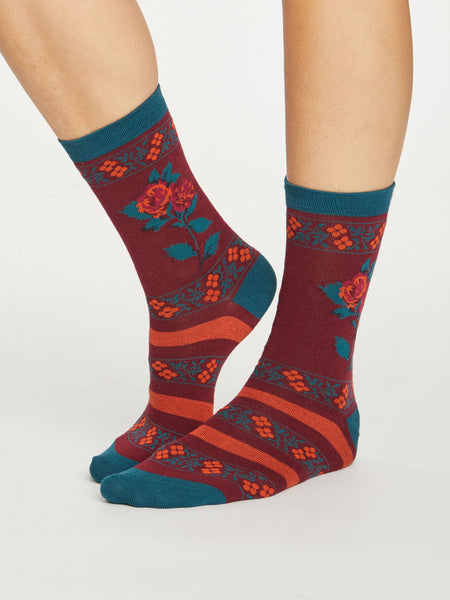 Folk Floral Bamboo Socks in Bilberry by Thought, Size 4-7-bamboofeet