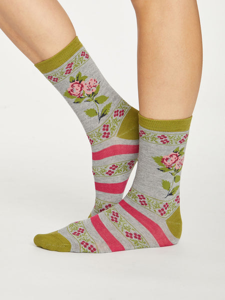 Folk Floral Bamboo Socks in Mid Grey Marle by Thought, Size 4-7-bamboofeet