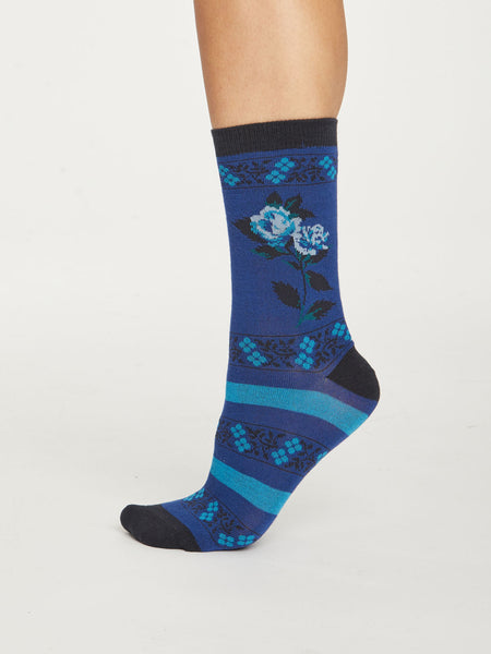 Folk Floral Bamboo Socks in Saphire Blue by Thought, Size 4-7-bamboofeet