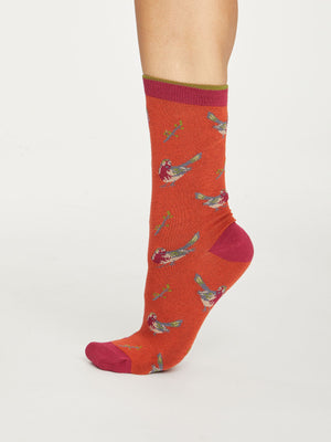 British Birds Bamboo Socks in Terracotta by Thought, Size 4-7-bamboofeet