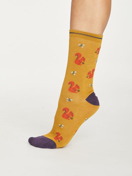 Squirrel Bamboo Socks in Gold by Thought - Size 4-7-bamboofeet
