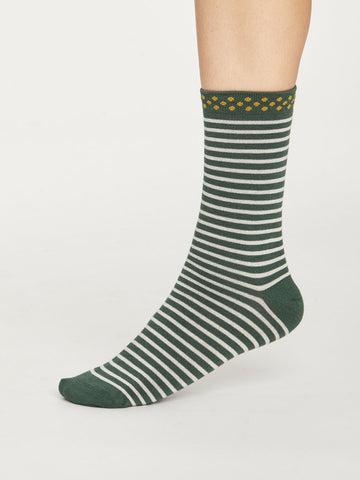 Hedda Stripe Bamboo Socks in Forest Green by Thought, Size 4-7-bamboofeet