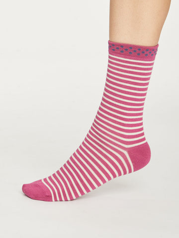 Hedda Stripe Bamboo Socks in Violet by Thought - Size 4-7-bamboofeet