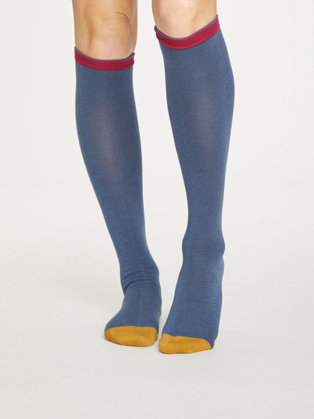 Colour Block Bamboo Knee Sock in Blue Slate by Thought Size 4-7-bamboofeet