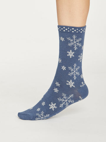 Snowflake Bamboo Christmas Socks in Blue Slate by Thought, Size 4-7-bamboofeet