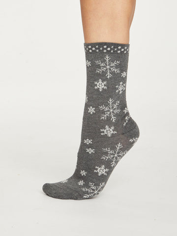 Snowflake Bamboo Christmas Socks in Dark Grey Marle by Thought, Size 4-7-bamboofeet