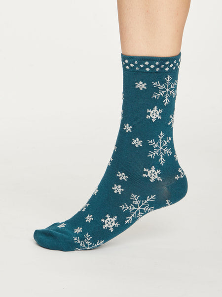 Snowflake Bamboo Christmas Socks in Teal Blue by Thought, Size 4-7-bamboofeet