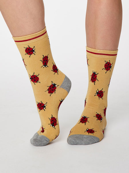 Insetto Ladybird Bamboo Socks in Buttercup Yellow by Thought - Size 4-7-bamboofeet