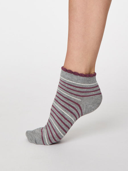 Lorraine Stripey Bamboo Ankle Sock in Grey Marle by Thought, Size 4-7-bamboofeet