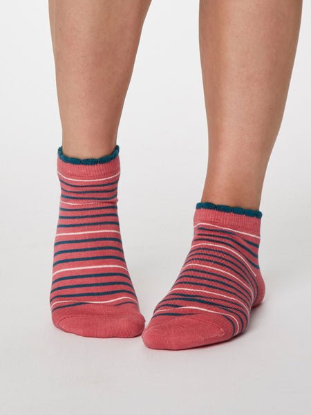 Lorraine Stripey Bamboo Ankle Sock in Sorbet Pink by Thought, Size 4-7-bamboofeet