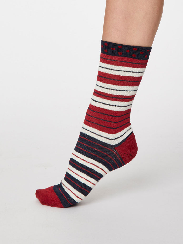 Addie Bamboo Striped Socks in Berry Red by Thought - Size 4-7-bamboofeet
