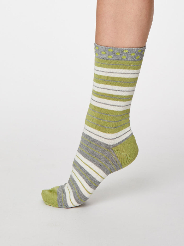 Addie Bamboo Striped Socks in Pea Green by Thought - Size 4-7-bamboofeet