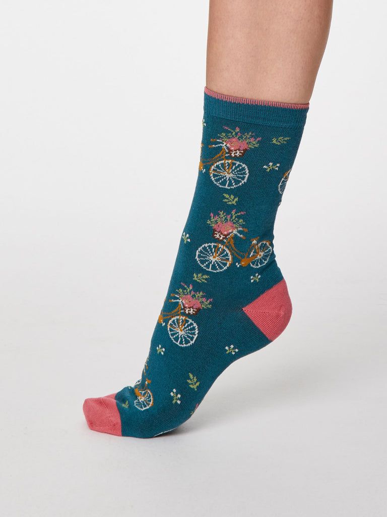 Bicicletta Bamboo Socks in Lagoon Blue by Thought - Size 4-7-bamboofeet