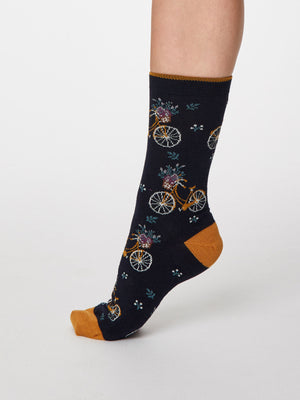 Bicicletta Bamboo Socks in Dark Navy by Thought - Size 4-7-bamboofeet