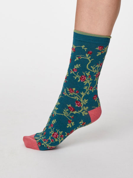 Floreale Bamboo Floral Socks in Lagoon Blue by Thought - Size 4-7-bamboofeet