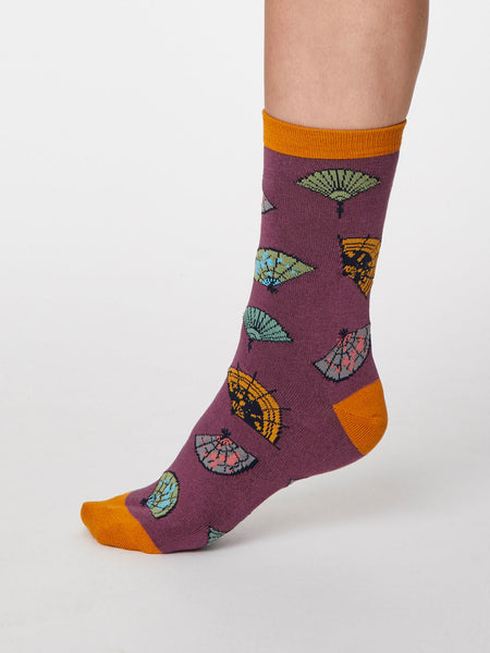 Mildred Bamboo Fan Socks in Tulip Purple by Thought - Size 4-7-bamboofeet