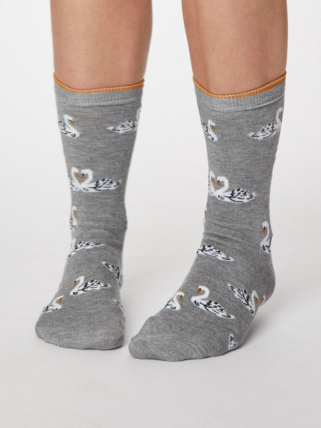 Cigno Bamboo Swan Socks in Mid Grey Marle by Thought - Size 4-7-bamboofeet