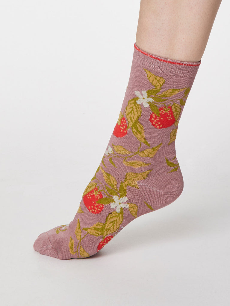 Frutta Bamboo Socks in Rose Pink by Thought, Size 4-7-bamboofeet