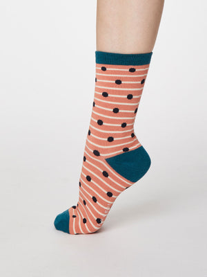 Hope Spot Bamboo Socks in Apricot by Thought, Size 4-7-bamboofeet