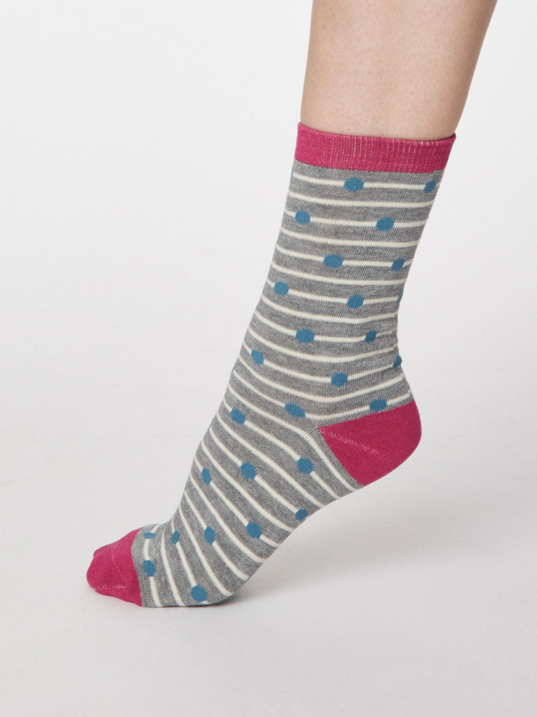 Hope Spot Bamboo Socks in Mid Grey Marle by Thought, Size 4-7-bamboofeet