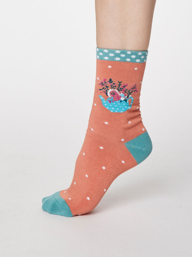 Flora Bamboo Flower Socks in Apricot by Thought, Size 4-7-bamboofeet
