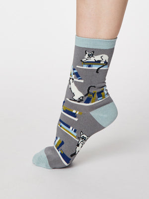 Gatto Cat Print Bamboo Socks in Pebble Grey by Thought, Size 4-7-bamboofeet