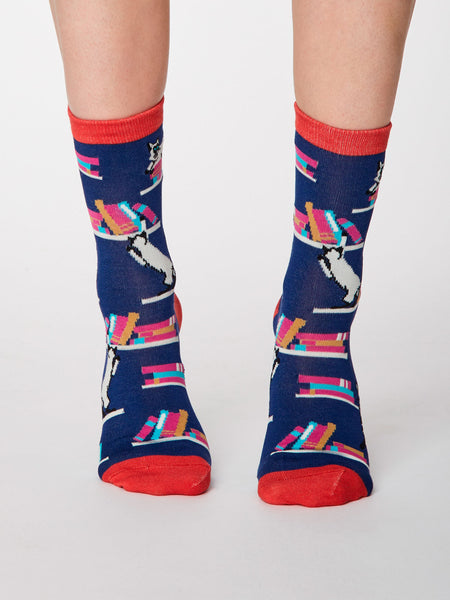 Gatto Cat Print Bamboo Socks in Twilight Blue by Thought, Size 4-7-bamboofeet