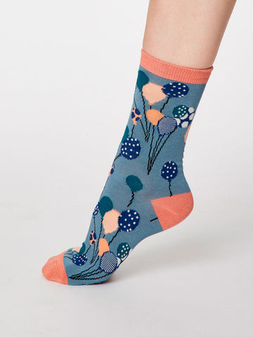 Netto Bamboo Balloon Socks in Sea Blue by Thought, Size 4-7-bamboofeet