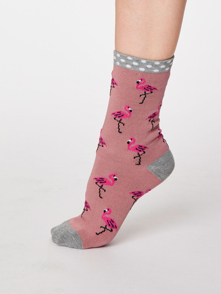 Rosa Flamingo Bamboo Socks in Rose Pink by Thought, Size 4-7-bamboofeet