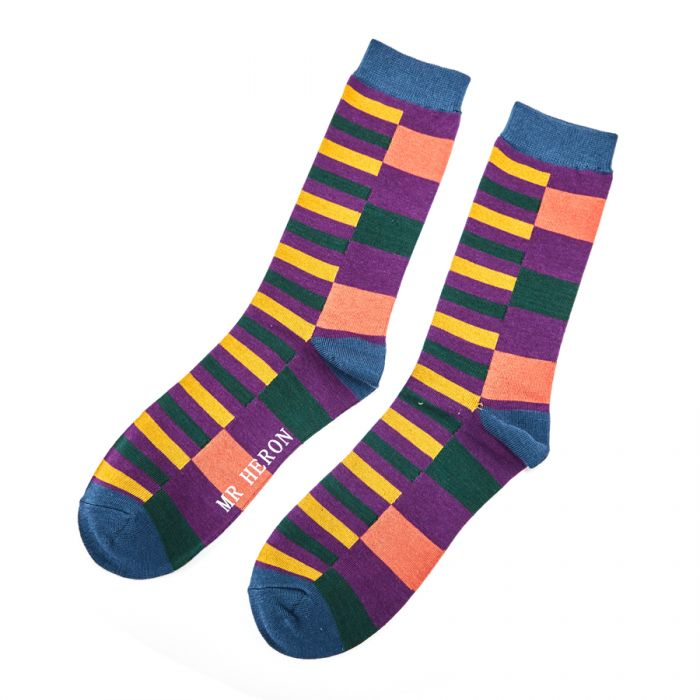 Thick and Thin Stripe Bamboo Socks by Mr Heron, Size UK 7-11-bamboofeet