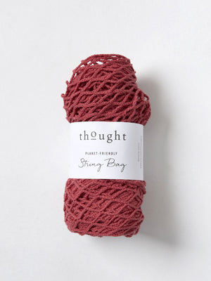 Organic Cotton String Bag in Hibiscus Red by Thought-bamboofeet