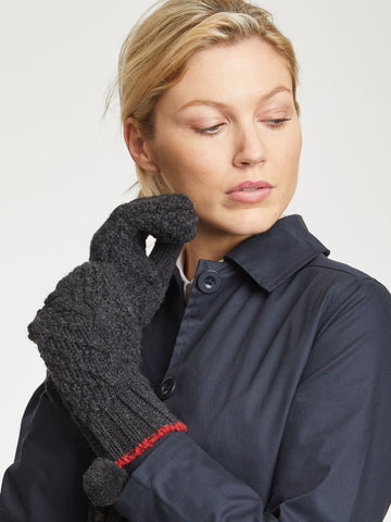 Jordunn Wool Gloves in Raven Black by Thought-bamboofeet
