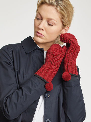 Jordunn Wool Gloves in Redcurrant Red by Thought-bamboofeet