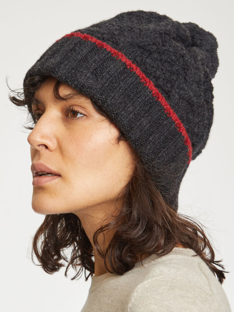 Jordunn Wool Beanie Hat in Raven Black by Thought-bamboofeet
